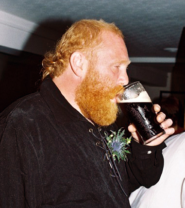 Bod's first pint as a married man