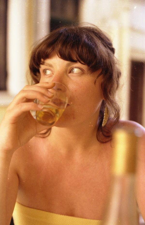 Carol & glass of wine