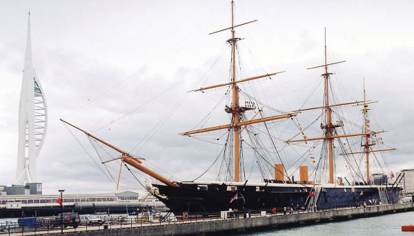 Spinnaker Tower & HMS Warrior in Naval Dockyard, Portsmouth