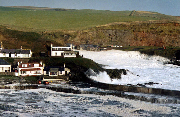 Spume at harbour and Cransdale. Collieston stories. East coast.