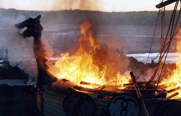 Burning replica Viking boat, Port Erroll