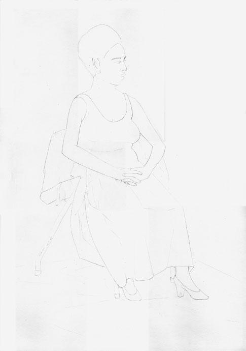 Georgina - portrait - Croydon Life Drawing Group - pencil
