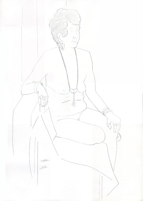 Life Drawing - Pat - Croydon Life Drawing Group - pencil