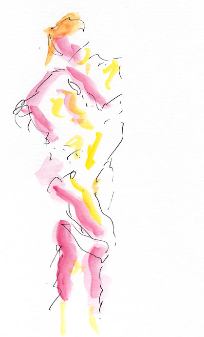 Life study - Clare - Croydon Life Drawing Group - watercolour
