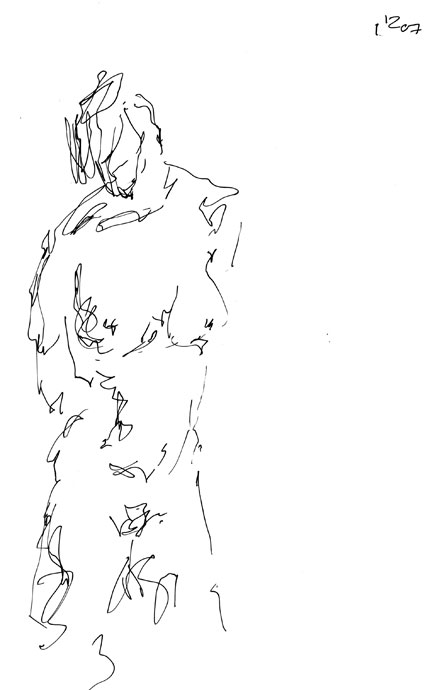 Life study - Clare - Croydon Life Drawing Group - pen and ink