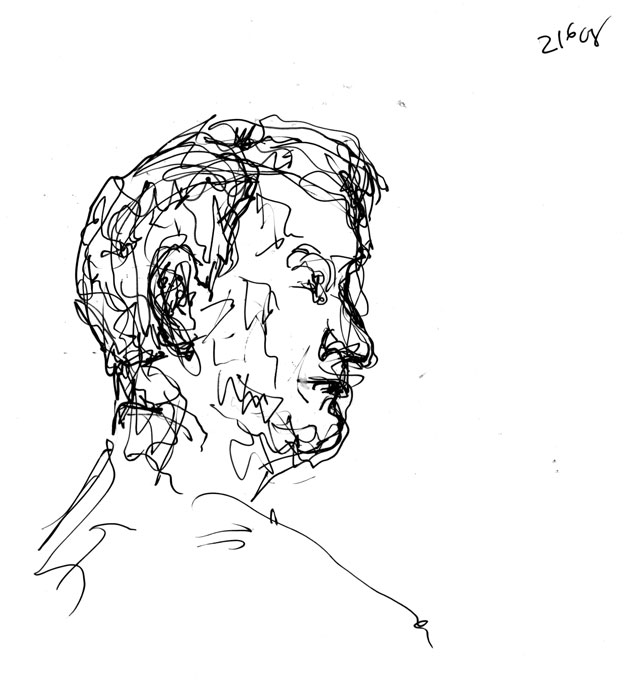 Portrait study - Peter - Wapping Life Group - pen and ink