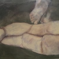 Adult Feet Child  buttocks. Oil on Canvas 100x80cms