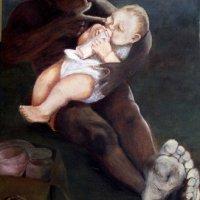 Boy Feeding Baby Oil on Canvas 100x150cms