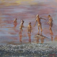 Cagnes Beach Evening Oil on Canvas 100x100cms
