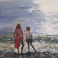 Cagnes Beach Oil on Canvas 100x80cms