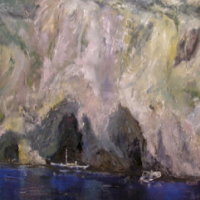 Capri the rocks 70x100cms oil in canvas