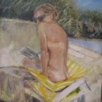Figure at the pool Oil on Canvas 80x100cms