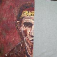 Keith Richards Oil on Canvas 100x100cms