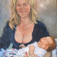 Mother and-baby Oil on Canvas 40x60cms