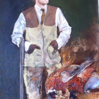 My Son. Pheasant Shoot.Oil on Canvas 100x150cms