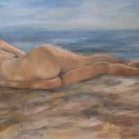 Reclining Nude 2 Oil on Canvas 130x100cms