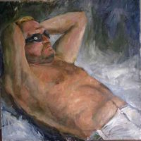 Sunbather Oil on Canvas 100x100cms