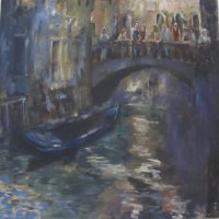 Tourists in  Venice Oil on Canvas 100x100cms