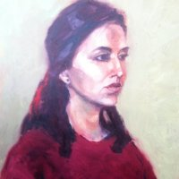 Young Indian Woman Oil on Canvas 40x60cms