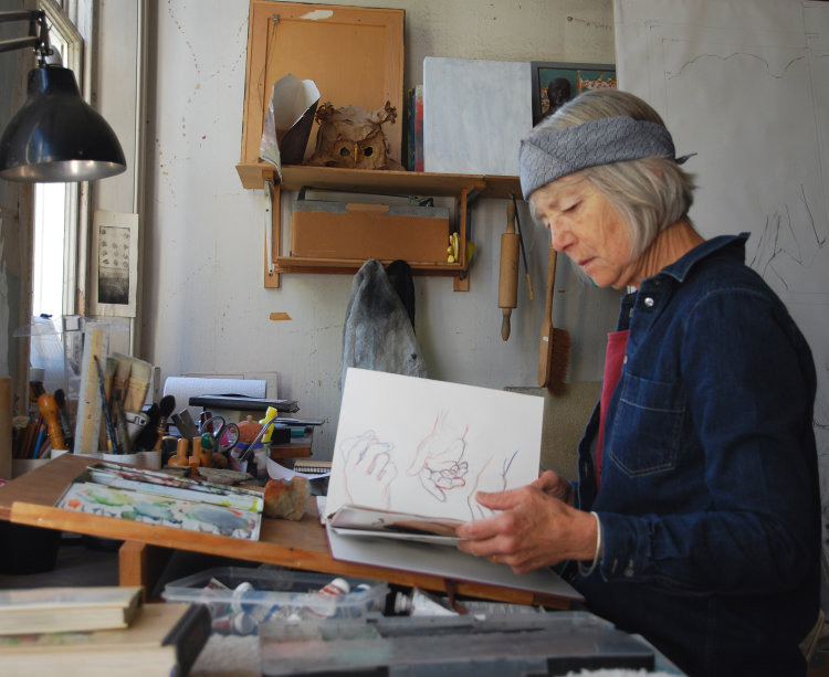 Gilly Hatch in her studio
