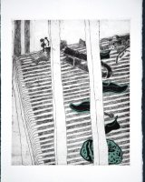 On the Deck, etching and relief, 29 x 24 cms, 2000, edition of 15,