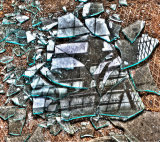 Broken glass reflection