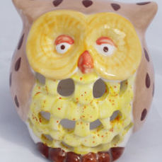 owl tea light front