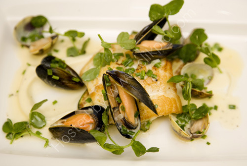 Pan Roasted Turbot with Mussels and Clams prepared by Executive Chef at the Grand Hotel Alan White
