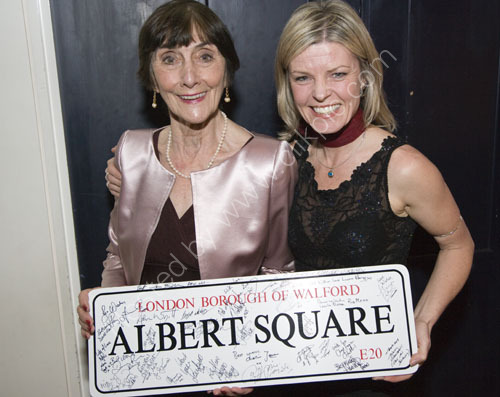 June Brown from Eastenders and TV actress Jan Graveson with the signed Albert Square auction prize