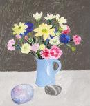 Flowers in Blue Jug