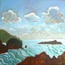 Mullion Cove with three clouds
