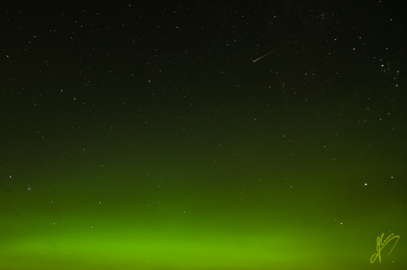 Early morning, Aurora Borealis with Meteor.
