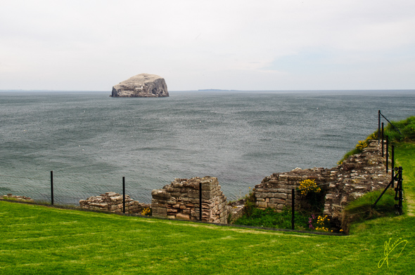 Bass Rock from Tantallon Castle.