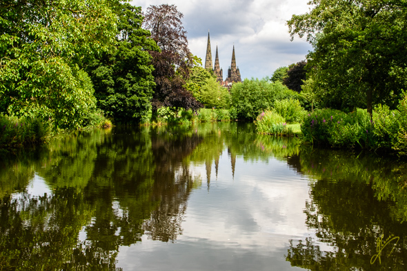 Lichfield Cathedral from Beacon Park.