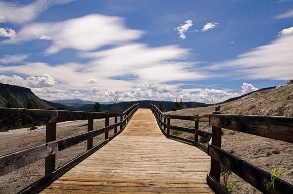 Boardwalk at Mammoth Hot Springs.