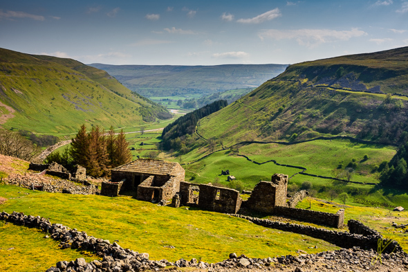 Crackpot Hall and view of Swaledale.