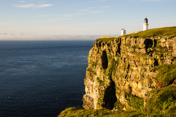 Evening Light (and fog bank) at Dunnet Head.