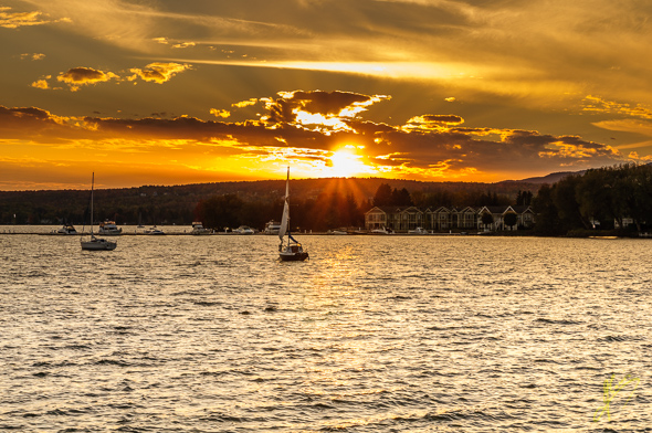Sunset on Lake Memphremagog.