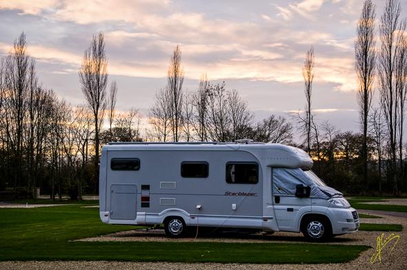 Evening Light at Moreton in Marsh Caravan Club Site.