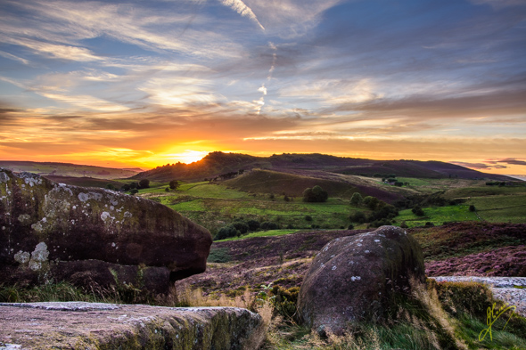 "Sunset over ""The Roaches""."