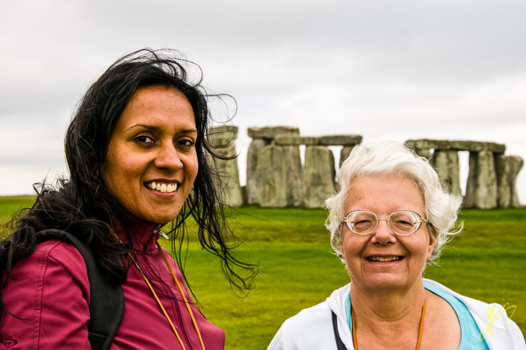 Runa and Jenny at Stonehenge.