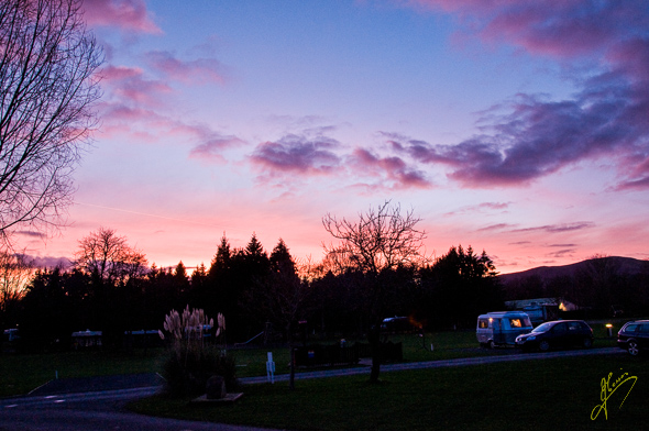 Sunset at Blackmore Camping and Caravan Club Site.