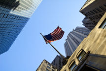 Flag outside Chrysler Building