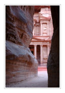 Glimpses of Al Khazneh from the Siq, Petra.