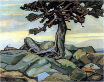 "Arthur Lismer - ""Pine Tree and Rocks"""