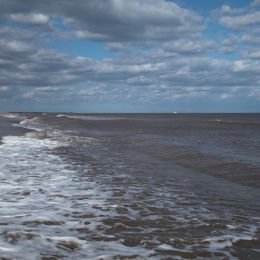 View towards Southwold from Dunwich Beach, Suffolk