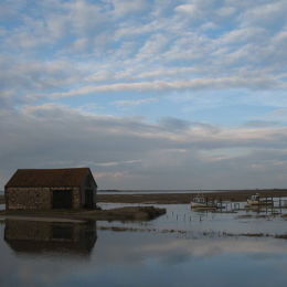 High spring tide at Thornham Harbour, North Norfolk