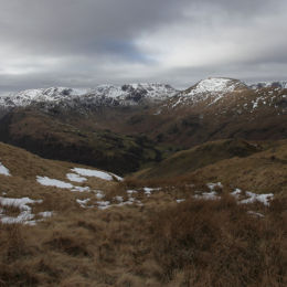 View from Angletarn Pikes, looking towards Hart Crag, Fairfield and Helvellyn
