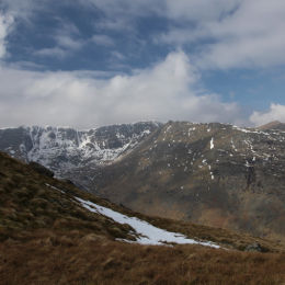 View from St Sunday Crag looking across to Helvellyn and Striding Edge