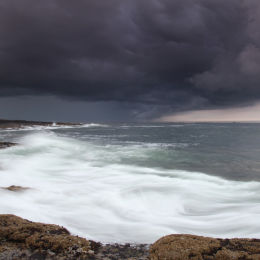 Storm over Holy Island, taken from Bamburgh Beach, Northumbria